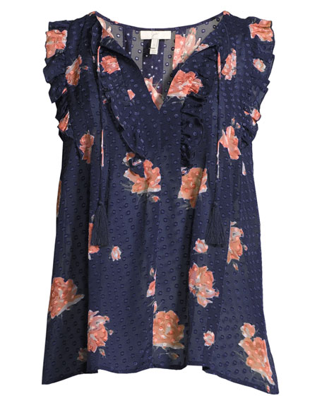 Lea Flocked Floral-Print Sleeveless Top, Navy Blue Pattern