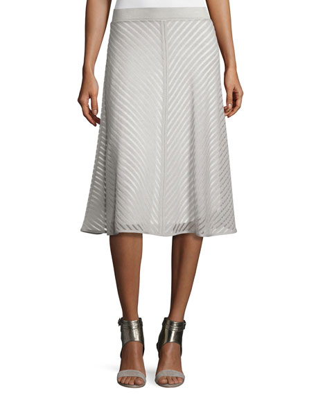Sheer Striped A-line Skirt, Petite