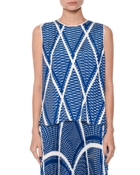 MSGM Modern Argyle Plissé Shell Top, Blue