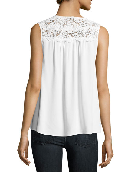 Pearl Sleeveless Lace-Trim Crepe Top, White