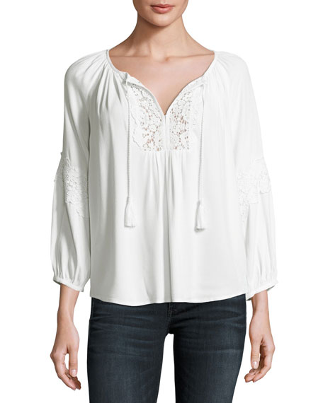 Joie Orval Lace-Trim Peasant Top, White