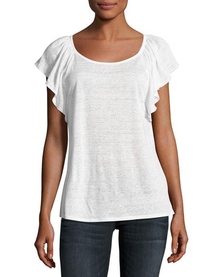 Hava Linen Slub Ruffle-Sleeve T-Shirt, White