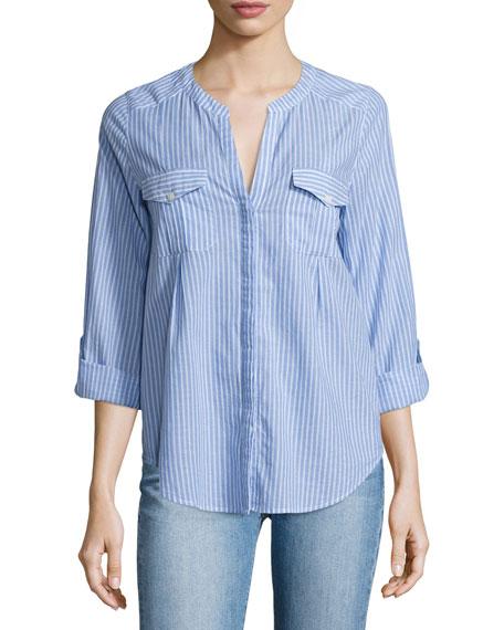 Joie Kalanchoe Striped Poplin Shirt, Blue/White