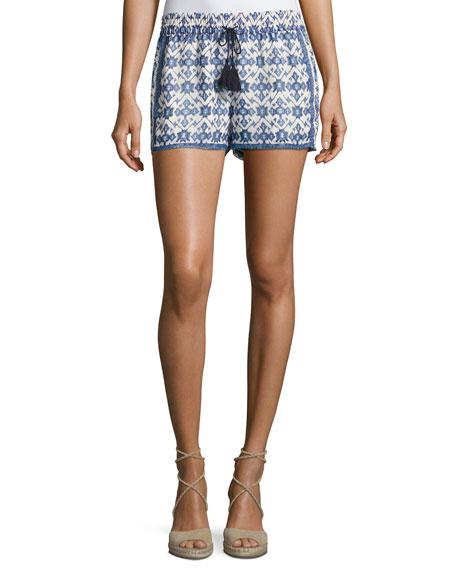 Zaha Geo-Print Drawstring Shorts, White/Blue