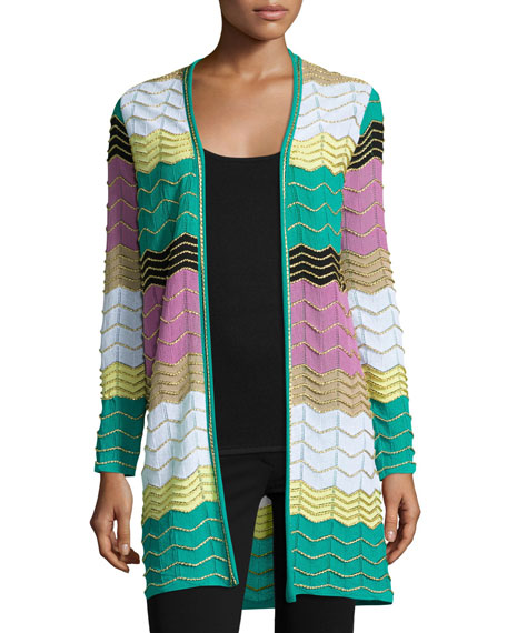 M Missoni Long Colorblocked Zigzag Cardigan, Multi