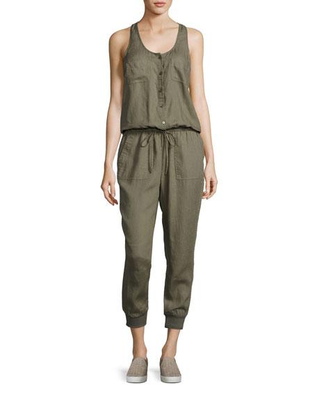 Joie Dantel Sleeveless Linen Jumpsuit, Green