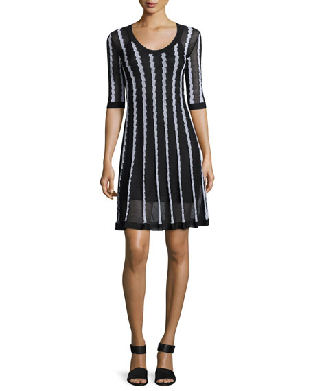 M Missoni Half-Sleeve Scoop-Neck Striped Knit Dress, Black