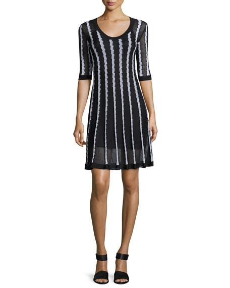 Half-Sleeve Scoop-Neck Striped Knit Dress, Black Pattern