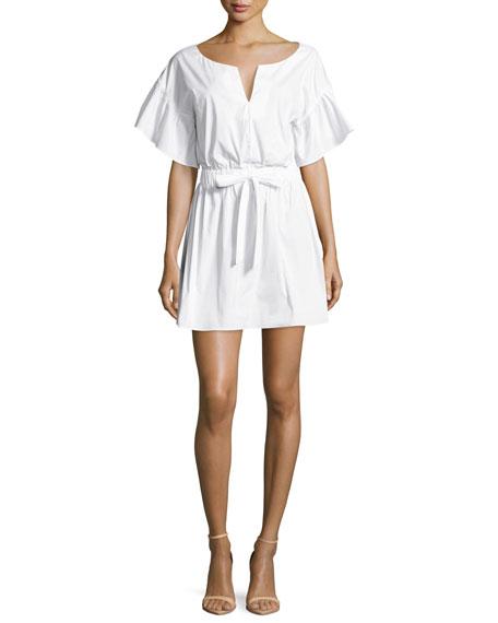 Milly Vivian Bell-Sleeve Stretch-Poplin Dress, White