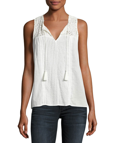 Alasdair Sleeveless Lace-Yoke Top, White