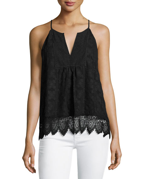 Joie Ember Sleeveless Lace Top, Black