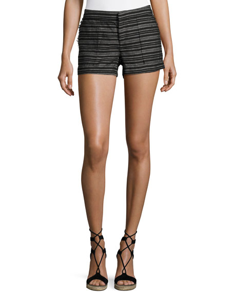 Joie Chalina Striped Linen Shorts, Black Pattern