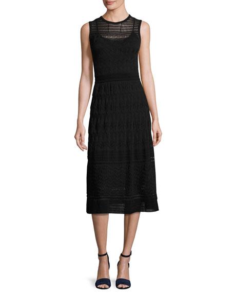 M Missoni Sleeveless Rib-Stitched Midi Dress, Black