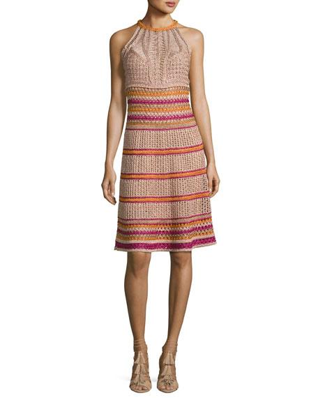 Racerback Crocheted Metallic Knit Dress, Multi