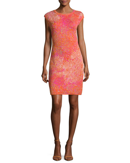 M Missoni Cap-Sleeve Jacquard Sheath Dress, Multi