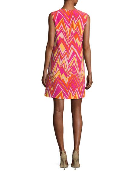 Sleeveless Retro Zigzag Silk Shift Dress, Multi
