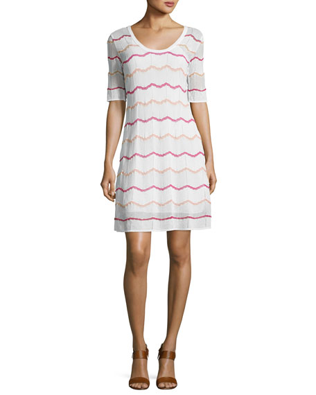 Short-Sleeve Zigzag Knit A-Line Dress, White Pattern