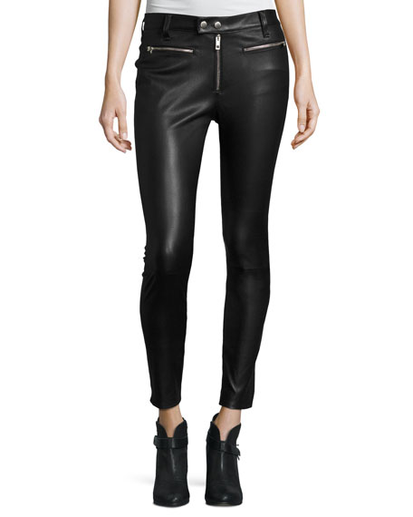 rag & bone/JEAN Ryder Leather Skinny Jeans, Black