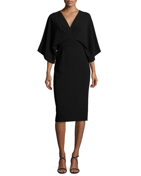 Theia Kimono Stretch-Crepe Dress, Black