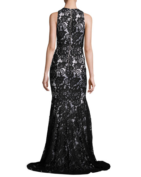 Beaded Sleeveless Lace Mermaid Gown, Black/White