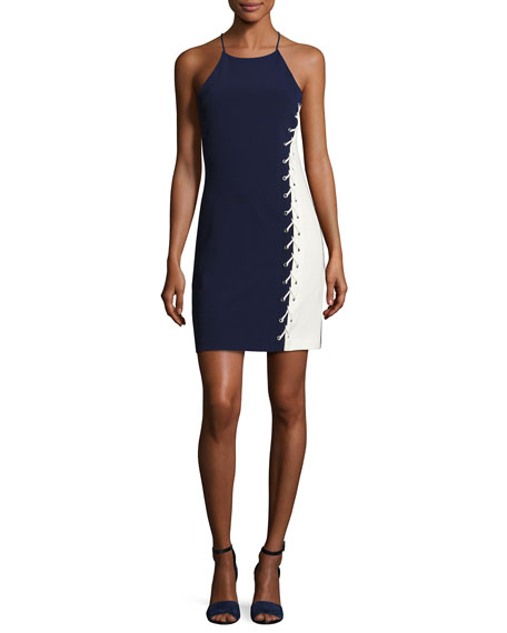 Florence Sleeveless Lace-Up Colorblock Fitted Dress, Aquarius
