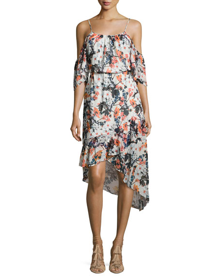 Hermione Floral-Print Cold-Shoulder Midi Dress, Wisteria