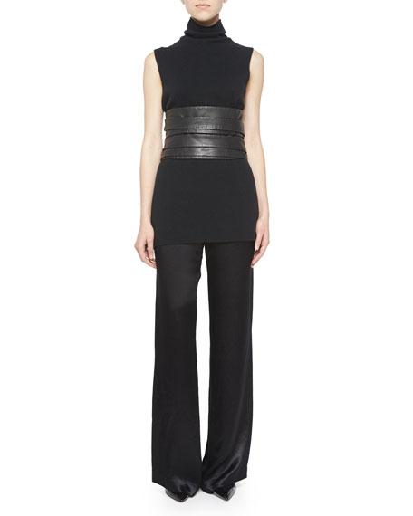 the row high waist leather wrap belt black