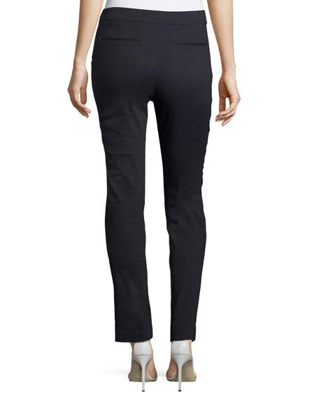Arabella Stretch-Linen Straight-Leg Pants, Navy