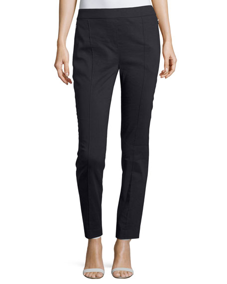 Elie Tahari Arabella Stretch-Linen Straight-Leg Pants, Navy