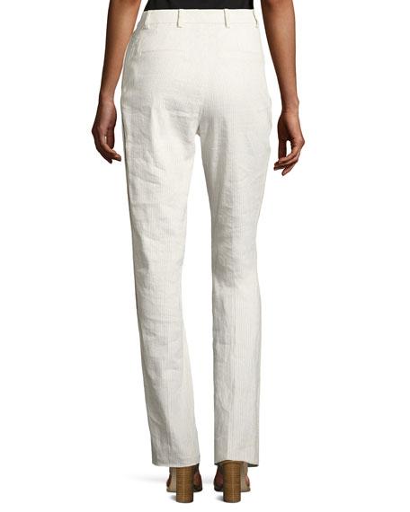 Aiden Seersucker Linen-Blend Straight-Leg Pants, Multi
