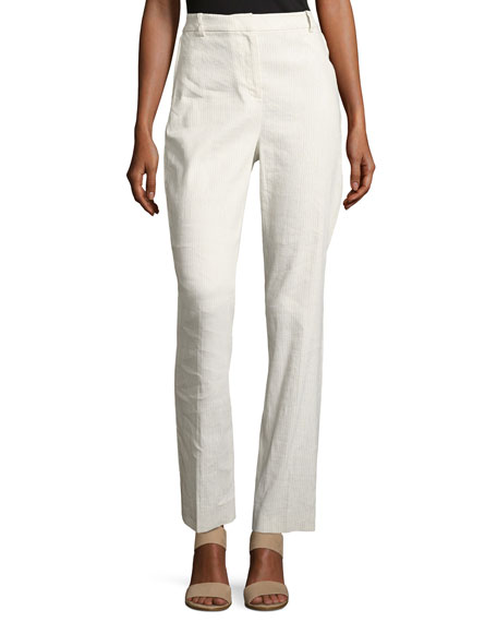 Elie Tahari Aiden Seersucker Linen-Blend Straight-Leg Pants,