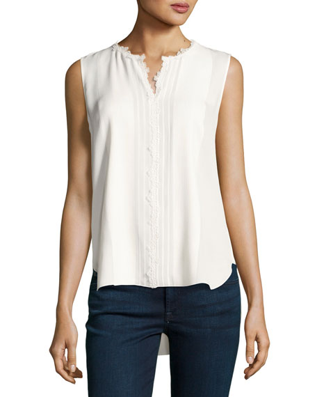 Elie Tahari Amerie Sleeveless Lace-Trim Silk Blouse, Ivory