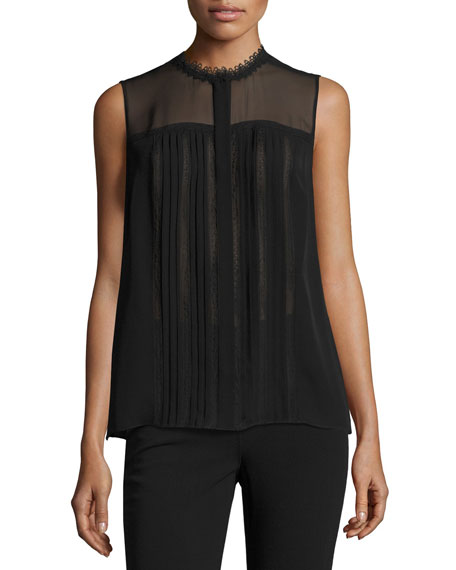 Elie Tahari Danae Sleeveless Lace-Trim Silk Blouse, Black