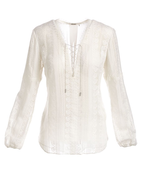 Tanya Long-Sleeve Lace-Up Silk Blouse, Ivory