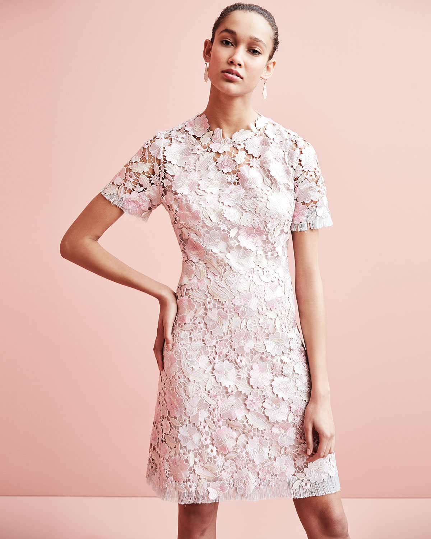 Laura Short Sleeve Lace Dress Pink Pattern