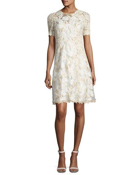 Elie Tahari Larsa Short-Sleeve Lace Dress, Cream