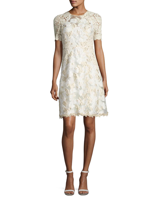 7824346578b82 Cream Lace Overlay Dress With Sleeves - raveitsafe