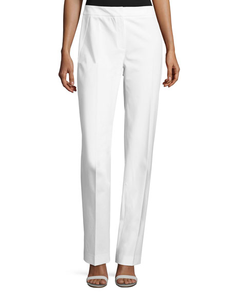 Elie Tahari Leena Slim Stretch-Knit Pants, White