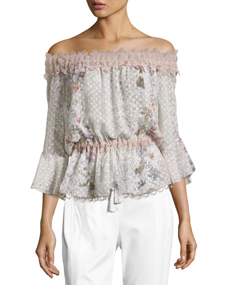 Elie Tahari Zoia Off-the-Shoulder Floral Blouse, Multi