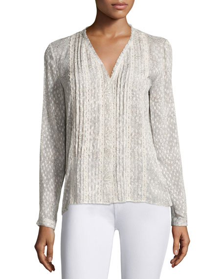 Gale Long-Sleeve Lace-Trim Pintucked Blouse