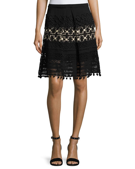 Elie Tahari Simora Silk Lace A-Line Skirt, Black