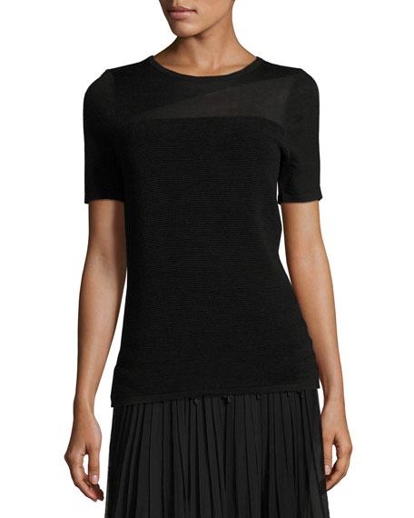 Elie Tahari Ava Short-Sleeve Ribbed Merino Sweater, Black