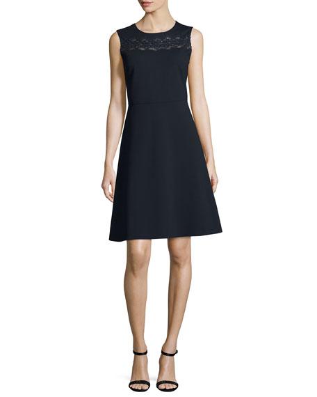 Fallon Sleeveless Lace-Yoke A-Line Dress, Blue