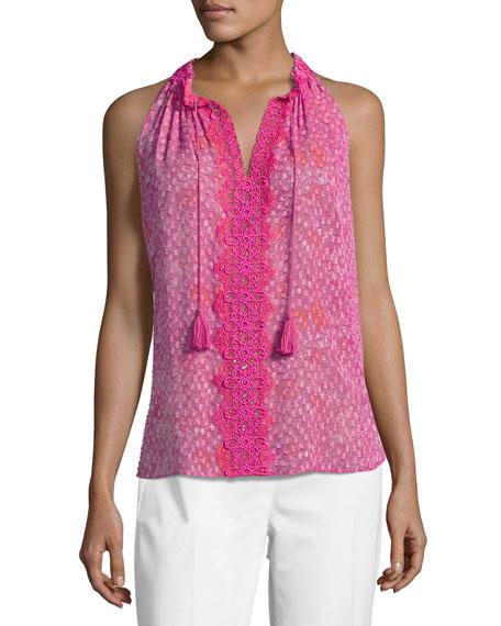 Elie Tahari Sashi Sleeveless Floral-Print Silk Blouse, Multi