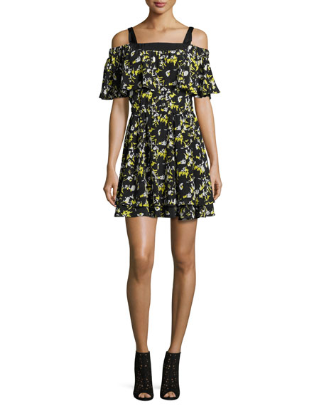 GREY Jason Wu Ruffled Off-the-Shoulder Flower-Print Silk Dress,