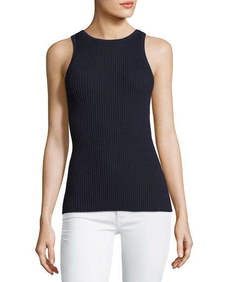 GREY by Jason Wu Sleeveless Tie-Back Ribbed-Knit Top,