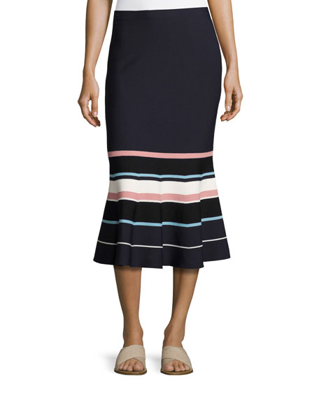 Striped Fit-&-Flare Knit Midi Skirt, Navy