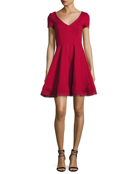 RED Valentino Short-Sleeve Lace-Hem Fit & Flare Dress