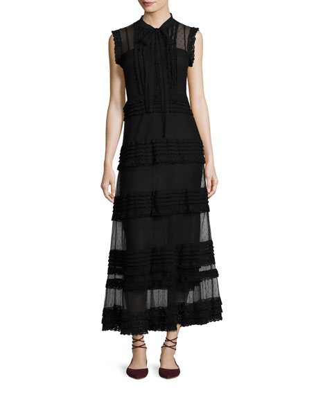 RED Valentino Sleeveless Point d'Esprit & Lace Ribbon