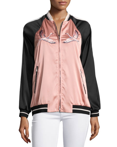 Embroidered Stretch-Satin Novelty Bomber Jacket